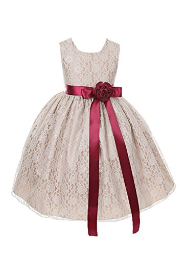 Cinderella Couture Girls Elegant Champagne Lace Flower Girl Dress & Sash,Champagne with Burgundy Sash & Flowe,8 ()