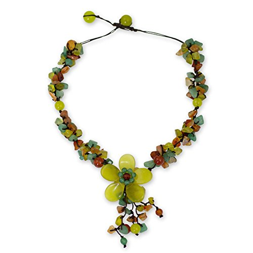 NOVICA Multi-Gemstone, Serpentine and Carnelian Adjustable Y-Necklace, 15.5