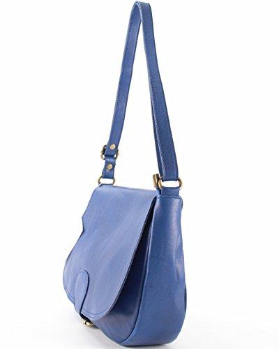 histoireDaccessoires - Bolso con Bandolera de Cuero de Mujer - SA142123RO-Suzy Azul Francia