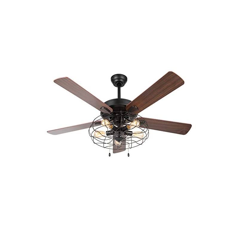 CO-Z Caged Industrial Ceiling Fan with Lights, 52'' Farmhouse Ceiling Fan Black for Bedroom Dining Room Living Room…