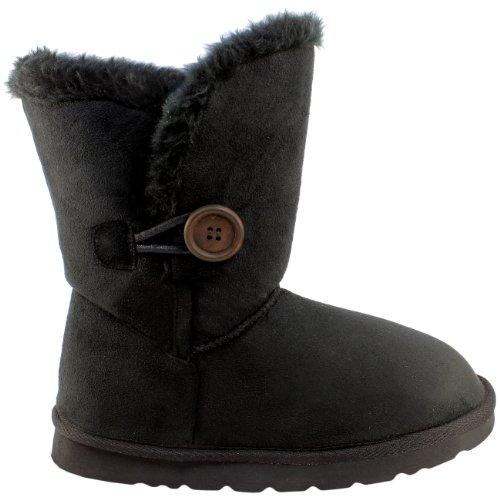 Damen Schuhe Single Knopf Fell Schnee Regen Stiefel Winter Fur Boots - Schwarz - 38 - AEA0079