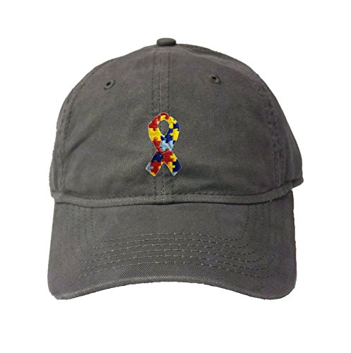Go All Out Adjustable Charcoal Adult Autism Ribbon Embroidered Deluxe Dad Hat