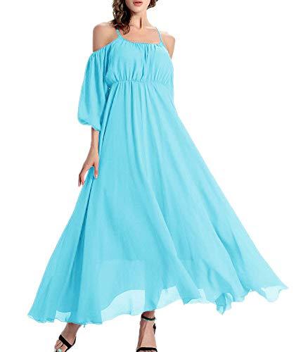 Afibi Women's Off-Shoulder Long Chiffon Casual Dress Maxi Evening Dress (Medium, Cornflower Blue) ()