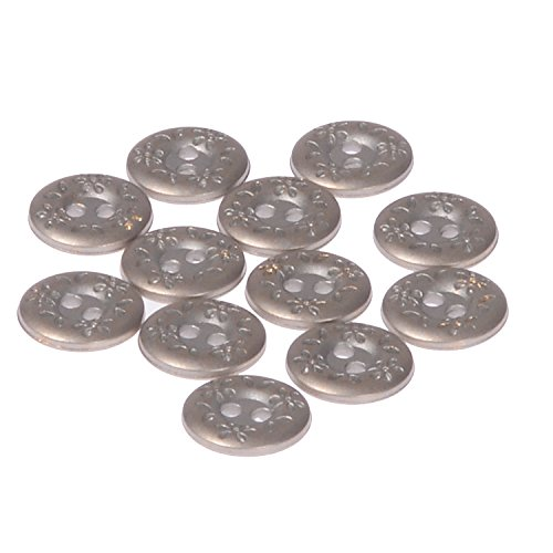 ABS Metal Plated Button 2 Hole Engraved Flower and Leaf Design on Rim Silver Brass 24 Line (12pc)