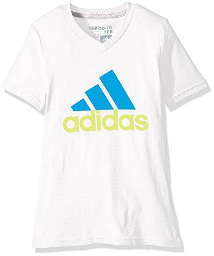 adidas Big Girls' Logo Short Sleeve Tee, White/Shock Blue, Small/7-8