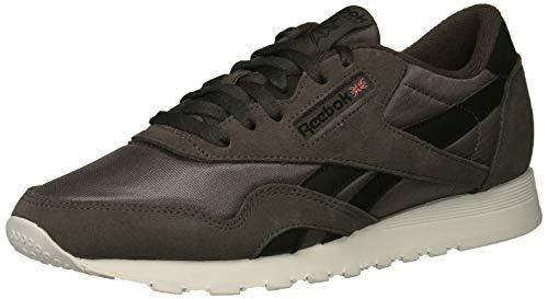 Reebok Men's Classic Nylon Sneaker, ash Grey/Black/White, 8.5 M US (Footwear Grey Ash)