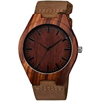 Zeiger Wooden Bamboo Watch with PU Leather Strap Quartz Analog Casual Wood Watches ( Wal Walnut)