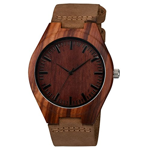 Crazy Horse Glasses Frames (Zeiger Mens Wooden Bamboo Watch with Crazy Horse Leather Strap Quartz Analog Casual Vintage Watches Wood ( Wal)