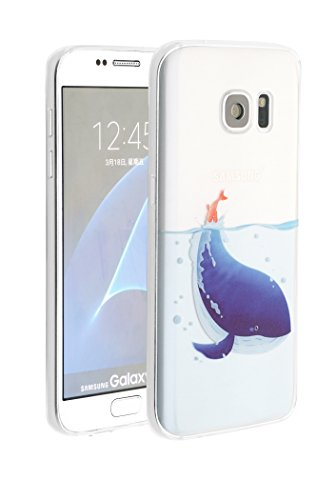 Designer Case for Galaxy S7, Artistic Illustration Printed Clear Slim Soft Resilient TPU Rubber Bumper Case/ Back Cover [Dust Caps Attached] -Blue Whale ()