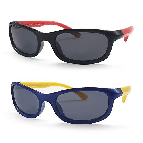 MOTOEYE Kids Cat Eye Sunglasses for Girls Boys Children From 4-12 Years Old,Pack of 2