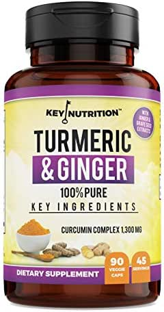Turmeric Curcumin Complex with Ginger | 100% Organic Supplement - High Potency Pain Relief, Anti-Inflammatory, Antioxidant for Arthritis, Inflammation, Heart Health | 90 Capsules, 45 Servings