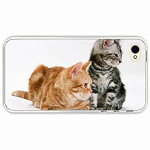iPhone 4 4S Black Hardshell Case kittens couple tenderness Transparent Desin Images Protector Back Cover