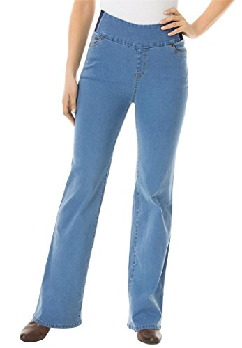 Women's Plus Size Tall Bootcut Smooth Waist Jean Light Stonewash,20 T