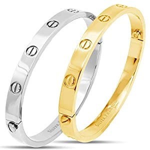 Love Screw Bangle Bracelet by Silver Phantom Jewelry - 18k Gold Plated or Silver Finish Stainless Steel