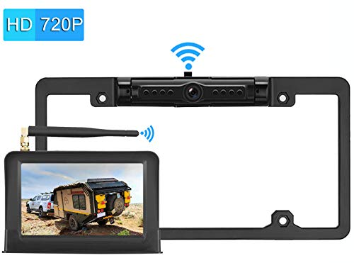 LeeKooLuu Digital Wireless Backup Camera System 2019 Vision HD 720P for Cars,RVs,Pickups,Trucks,Campers IP69 Waterproof License Plate Camera Front/Rear View Super Night Vision Guide Lines On/Off (Best Truck Battery 2019)
