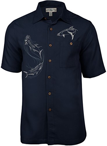 Hook & Tackle Men's Tarpon Territory Short Sleeve Embroidered Fishing Shirt Navy XLarge