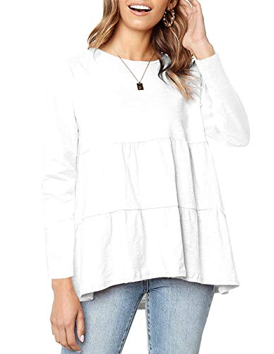 QEESMEI Women's Casual Swing Long Sleeve Loose Blouse High Low Hem Ruffle Peplum Tops Tees Shirts