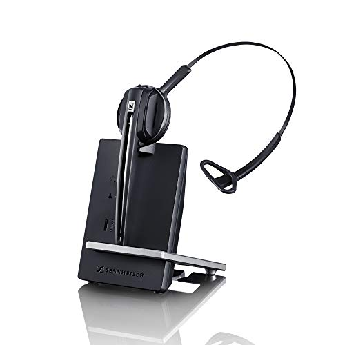 e (506410) Single-Sided Wireless DECT Headset for Direct Desk Phone Connection, with Noise Cancelling Microphone (Black) ()
