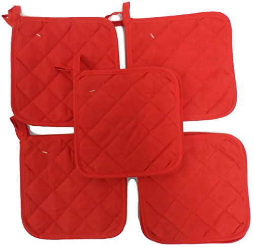 Brite Red (Ten) 10 Pack Pot Holders 6.5 Square Solid Color Everday Quality Kitchen Cooking Chef Linens