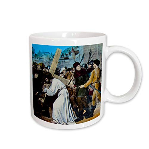3dRose Scenes from the Past - Magic Lantern - Magic Lantern Slide Jesus Carrying Cross Miedieval Style Vintage 1890s - 11oz Mug (mug_301316_1) ()