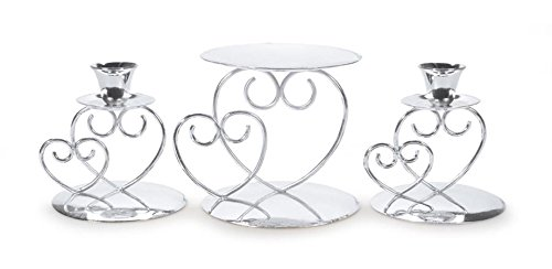 Darice Victoria Lynn Unity Candle Holder 3-Piece Set - Includes 2 Taper Candle Holders, 1 Pillar Candle Holder - Elegant Open Combined Hearts Design - Perfect for Wedding Ceremony, Silver (Renewed)