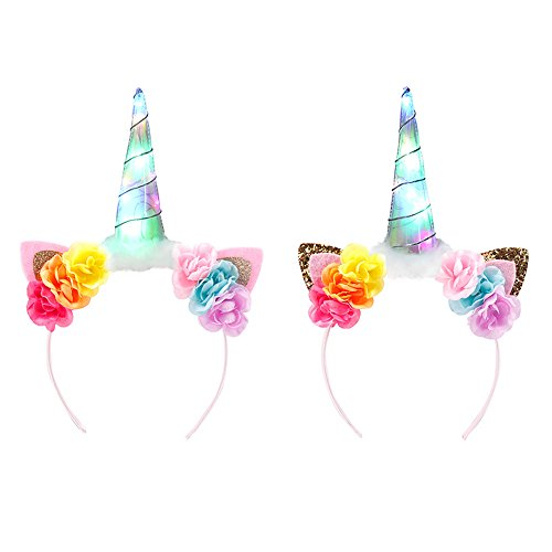 2 Pcs Unicorn LED Headbands for Toddlers, Children, Teens, Adults For Party Light Up Rave Disco Flashing Lights Party Dreads For Halloween, Dress Up Parties, Masquerades (Gold & Pink)