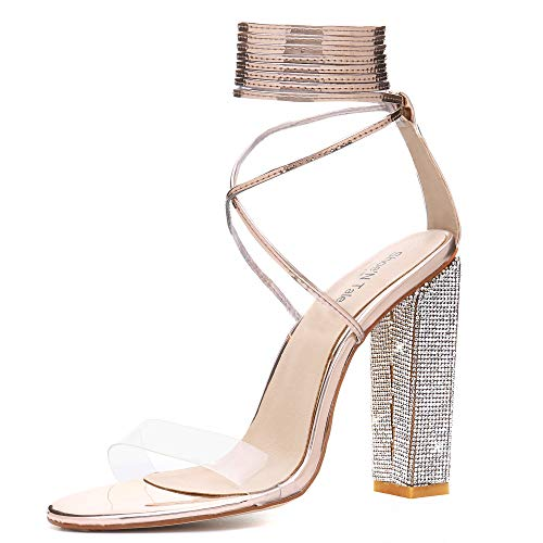 - Shoe'N TaleWomenRhinestoneCoveredBlockHighHeelsSandalsClearOpenToeAnkleLaceUpPump Wedding Party Shoes (5 M US, Gold)