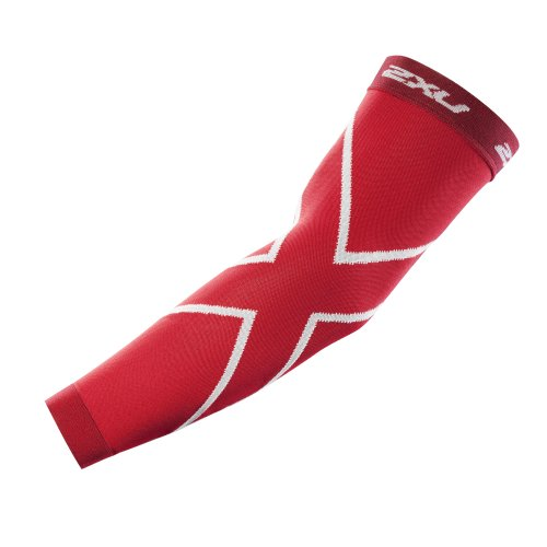 2XU Compression Recovery Arm Sleeves, Red, Large