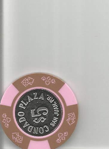 ($5 the condado plaza casino chip token san juan puerto rico super rare tan pink stripes)