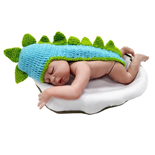 Kalevel Cute Cartoon Dinosaur Style Infant Newborn Baby Girl Boy Crochet Beanie Hat Clothes Baby Photograph (Baby Dinosaur Cartoon)