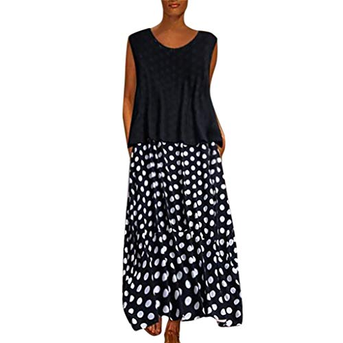 Lovygaga Women Vintage Polka Dot Print Sleeveless Plus Size Long Dress Casual Ruffle Hem Swing Loose Maxi Dresses Black