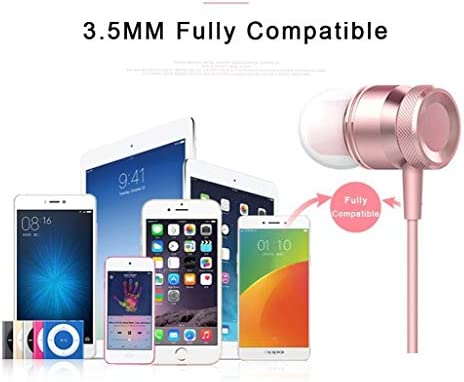 Wired Headphone Metal Earbuds by Amasing Noise Cancelling Stereo Heave Bass Pink Earphones with Micphone Mic, in Ear Headphones Magnetic Design for iPhone 5 6 Samsung M9