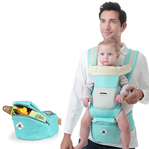 Baby & Child Carrier with Baby Hip Seat Newborn to Toddler Baby Carrier Baby Carriers Front and Back All Seasons 360 Ergonomic (Light Blue) For Sale