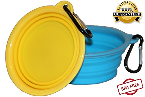 Northern Outback Travel Pet Bowl 2 Pack 2 Cup Silicone Collapsible Dog Bowl Cat Bowl (Dog Trendy Bowls)