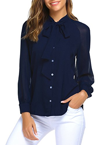 ACEVOG Women Bow Tie Neck Long Sleeve Patchwork Casual Button Down Shirt