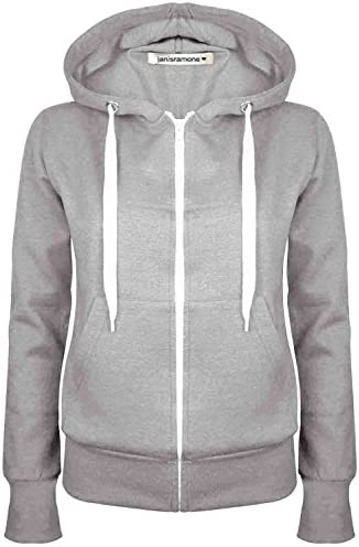 New Womens Long Sleeve Plain Hoodie ZipUp Fleece Sweatshirt Jumper Warm Coat Top