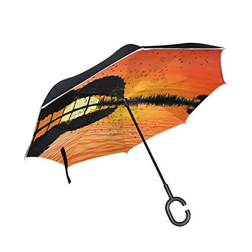 Vipsk Umbrella Reverse Umbrella Red Sunset Tree Gourd Reflection Creative Cars Umbrella Double Layer Inverted Umbrella Windproof Straight Waterproof Inside Out Travel Umbrellas (Gourd Tree)