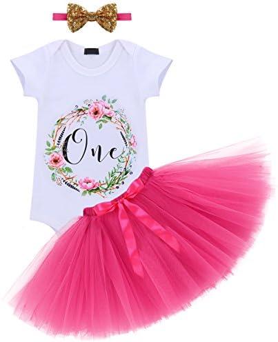 Baby Girl 1st Birthday Outfit Dress Tutu Pink Wild One Cake Smash Costume Set AU