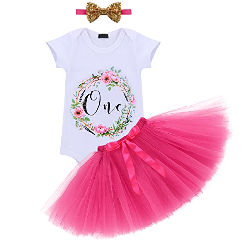 Baby Girl It's My 1st Birthday 3Pcs Outfits Skirt Set Romper+Tutu Dress+Headband Cake Smash Crown Bodysuit #3 Hot Pink One Size ()