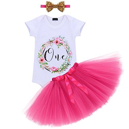 Baby Girl It's My 1st Birthday 3Pcs Outfits Skirt Set Romper+Tutu Dress+Headband Cake Smash Crown Bodysuit #3 Hot Pink One Size