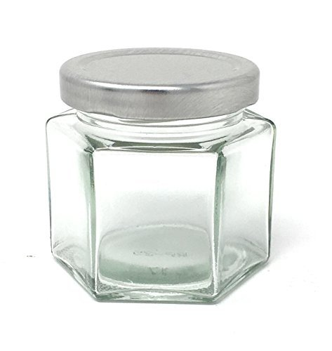 4 oz Hexagon Glass Jar Silver Metal Lid by Packaging For You 12 pack