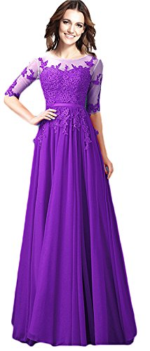 Rongstore Women's Appliques Long Prom Party Gowns with Sleeves Purple US26