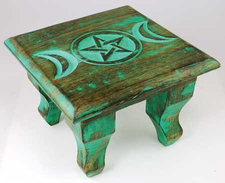 AzureGreen RAT646S 6 in. Antiqued Triple Moon Altar Table by AzureGreen by AzureGreen (Image #1)