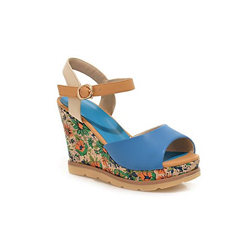 Amoonyfashion Donna Morbido Materiale Peep Toe Tacchi Fibbia Sandali Solidi Blu