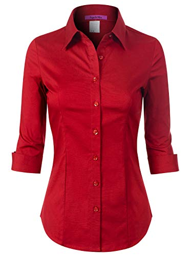 Design by Olivia Women's 3/4 Sleeve Stretchy Button Down Collar Office Formal Casual Blouse Shirts Top Red 3XL