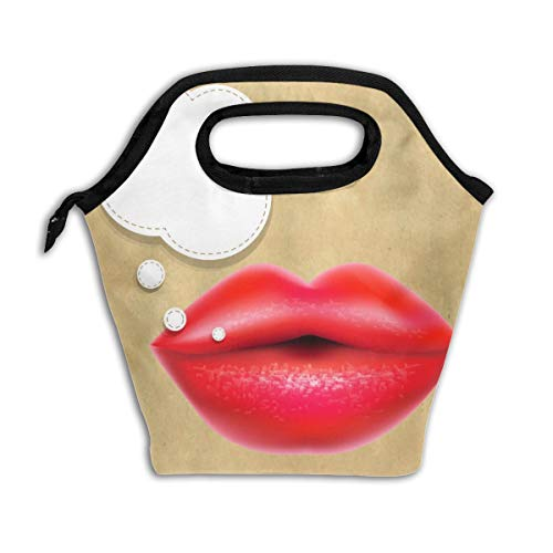 - Pattonef Bubble Red Lips Waterproof Lunch Bag Leakproof Neoprene Insulated for Men Women for Work Trip and Picnic