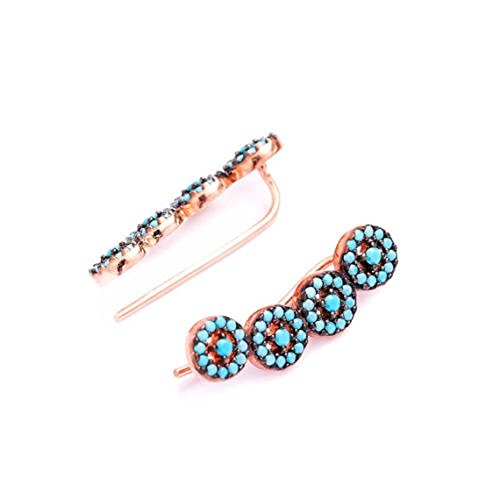 Ear Climber Crawler Cuff Earrings Turquoise Rose Gold Plated