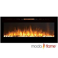 Moda Flame 50 Inch Cynergy Pebbles Stone Built-in Wall Mounted Electric Fireplace by Moda Flame