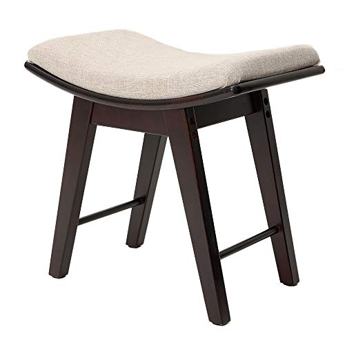 IWELL Vanity Stool with Rubberwood Legs, Makeup Bench Dressing Stool, Padded Cushioned Chair, Capacity 286lb, Piano Seat Brown SZD001Z (Bedroom Stools Chairs)