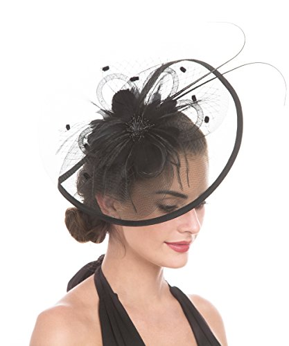 Lucky Leaf Women Girl Fascinators with Hair Clip Hairpin Hat Bowknot Feather Flower Veil Cocktail Wedding Tea Party Hat (8-Black) by Lucky Leaf